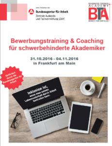 Flyer Bewerbungstraining und Coaching für schwerbehinderte Akadeniker in FFM