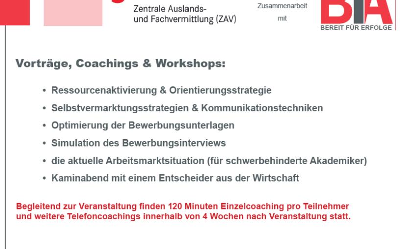 Fünf Tage für 12 Akademikerinnen und Akademiker – Bewerbungstraining und Coaching im Auftrag der ZAV in Frankfurt am Main